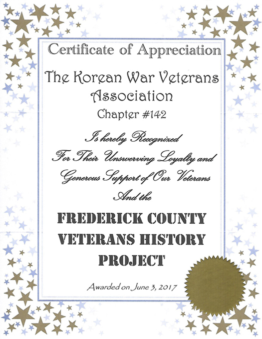 KWVA Chapter #142 Certificate of Appreciation from Frederick County Veterans History Project