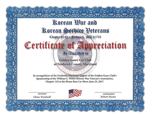Certificate of Appreciation to Golden Gears Car Club 2017
