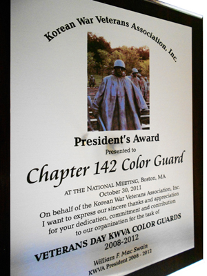 KWVA President Award to Chapter 142